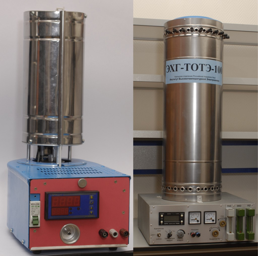 Functioning models of electrochemical generator on the basis of solid oxide fuel cells and electrolyzer for water steams decomposition, developed and produced in the IHTE RAS.